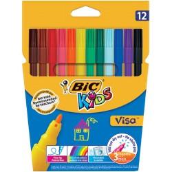 Flamastry BIC Visa 12 kolorów