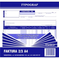 Druk Faktura VAT 2/3 A4...